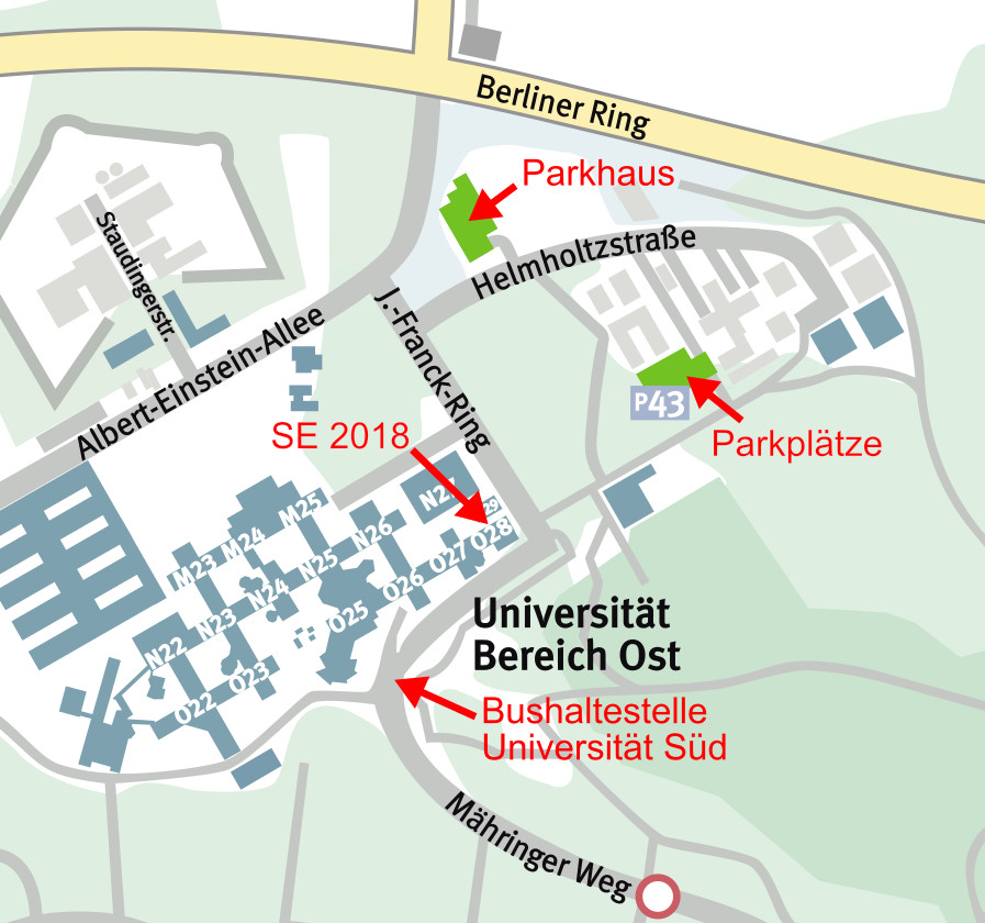 Map of area around Ulm University